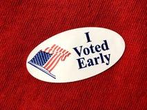 J'ai voté le sitcker tôt photographie stock