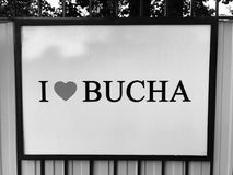 J'aime Bucha - BUCHA - l'UKRAINE Image libre de droits