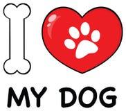 J'aime des animaux avec l'os et le coeur rouge avec Paw Print Logo Design Photo stock