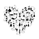 J'aime des chats ! Silhouette de chats noirs dans la forme de coeur Image stock