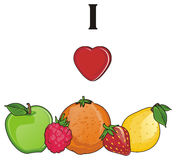 J'aime des fruits Illustration Stock
