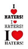 J'aime des haineux - estampille de T-shirt Image libre de droits