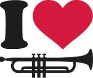 J'aime des icônes de trompette illustration libre de droits