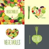 J'aime des légumes Ensemble de logos pour des amants de nourriture Photographie stock libre de droits