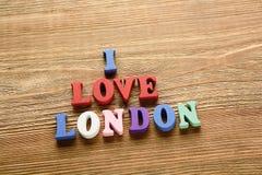 J'aime des lettres de Londres sur le bois Photo libre de droits
