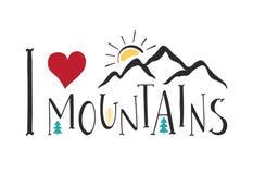 J'aime des montagnes Lettrage manuscrit pour des cartes, des affiches et des T-shirts Photos stock