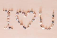 J'aime des mots d'U par la coquille de mer Photo libre de droits