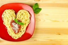 J'aime des pâtes/spaghetti d'une plaque Images libres de droits