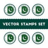 J'aime des timbres de vecteur du Pakistan réglés Images libres de droits