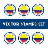 J'aime des timbres de vecteur de la Colombie réglés Photo libre de droits