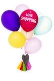 J'aime faire des emplettes, les ballons colorés avec des paniers Photo libre de droits