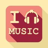 J'aime icône plate de vintage de musique la rétro illustration stock