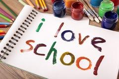 J'aime l'écriture de message d'école sur le bureau, de nouveau au concept d'école Photo libre de droits