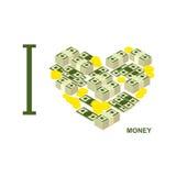 J'aime l'argent et l'argent liquide Coeur de symbole des dollars et des pièces d'or Images stock