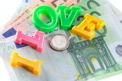 J'aime l'argent - euro Photo libre de droits