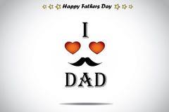J'aime l'art rouge d'illustration de jour de pères d'abrégé sur coeur d'amour de papa illustration de vecteur