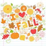 J'aime l'automne de nouveau à l'école Autumn Doodles Photo libre de droits