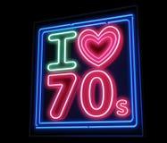J'aime l'enseigne au néon de décennie du Th 70s Photographie stock