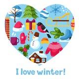 J'aime l'hiver Articles de vacances de Joyeux Noël, de bonne année et symboles Photo stock