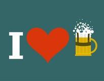 J'aime la bière à la tasse de bière d'Oktoberfest dans national bavarois traditionnel Image libre de droits