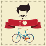 J'aime la coiffure, la moustache et la bicyclette de vintage de hippie Photos stock