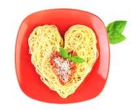 J'aime la forme de pâtes/spaghetti/coeur Photos stock