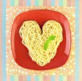 J'aime la forme de pâtes/spaghetti/coeur Images libres de droits
