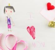 J'aime la mère - dessin d'enfant Photos libres de droits