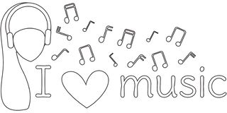 J'aime la musique Banni?re noire et blanche L'inscription, la tête d'une femme dans des écouteurs et notes musicales coloration illustration de vecteur