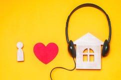 J'aime la musique de maison Musique d'Electonic électro, transe, maison profonde Images stock