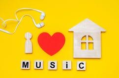 J'aime la musique de maison Musique d'Electonic électro, transe, maison profonde Photo libre de droits