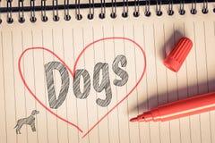 J'aime la note de chiens Photos stock