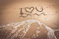 J'aime la plage sur la plage Photographie stock