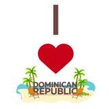 J'aime la République Dominicaine  Voyage Paume, été, chaise longue Illustration plate de vecteur illustration libre de droits