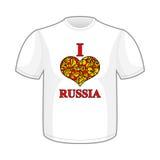J'aime la Russie Le symbole de entendent le modèle traditionnel de Khokhloma de gens Photographie stock