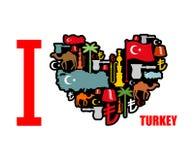 J'aime la Turquie Coeur de signe des caractères folkloriques turcs traditionnels Images libres de droits