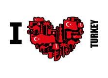 J'aime la Turquie Coeur de signe des caractères folkloriques turcs traditionnels Photo stock