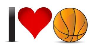 J'aime le basket-ball, coeur avec la boule de basket-ball illustration de vecteur