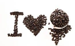J'aime le café fait à partir des grains de café Image libre de droits