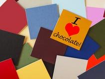 J'aime le chocolat - pour la nourriture et la boisson, suivre un régime, et les amants de chocolat ! Image libre de droits