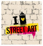 J'aime le concept d'Art Creative Vector Bright Poster de rue Photos libres de droits