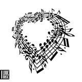 J'aime le concept de musique Coeur fait avec les notes musicales illustration de vecteur