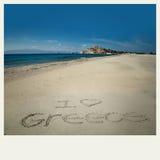 J'aime le dessin de la Grèce en sable Image stock