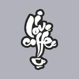 J'aime le lettrage blanc de calligraphie de café Image libre de droits