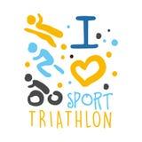 J'aime le logo de sport de triathlon Illustration tirée par la main colorée Images libres de droits