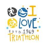 J'aime le logo de triathlon depuis 1969 Illustration tirée par la main colorée Photo stock
