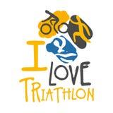 J'aime le logo de triathlon Illustration tirée par la main colorée Photos libres de droits