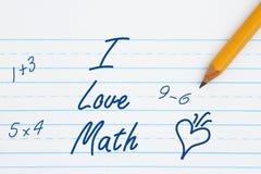 J'aime le message de maths Image stock