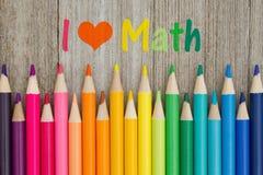 J'aime le message de maths avec des crayons de crayon Images libres de droits