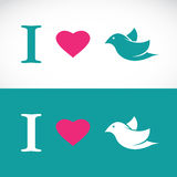J'aime le message symbolique d'oiseau Images stock